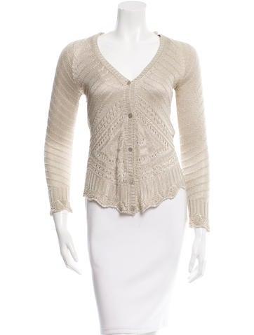 Blumarine Long Sleeve Open Knit Cardigan None