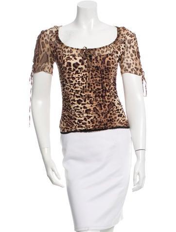 Blumarine Silk Leopard Print Top None