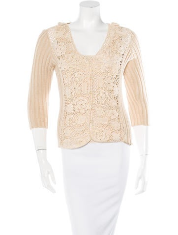 Blumarine Silk Crochet Cardigan Set None