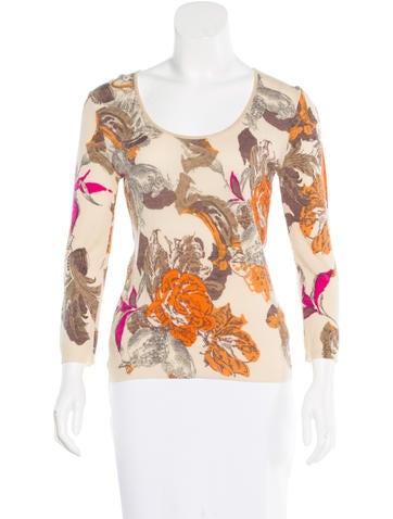 Blumarine Floral Pattern Rib Knit Sweater None