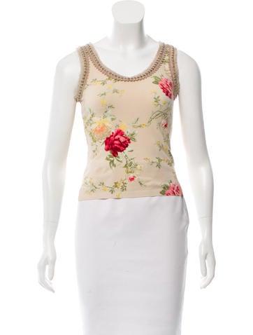 Blumarine Embellished Floral Top