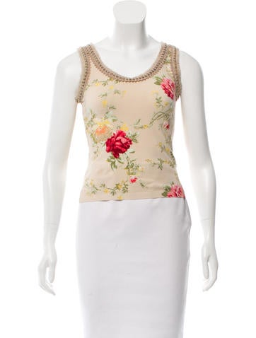 Blumarine Embellished Floral Top None