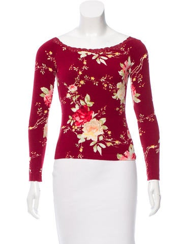 Blumarine Lace-Trimmed Floral Top None