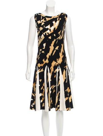 Blumarine Ruffle-Trimmed Patterned Knit Dress None
