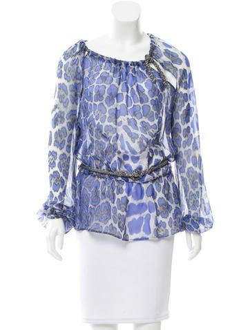 Blumarine Leopard Print Silk Top None