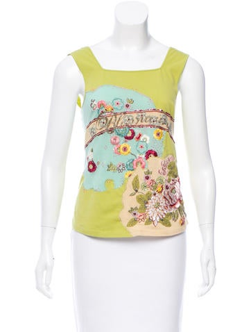 Blumarine Sequined & Embroidered Top None