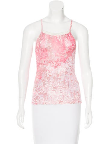 Blumarine Lace-Trimmed Sleeveless Top None