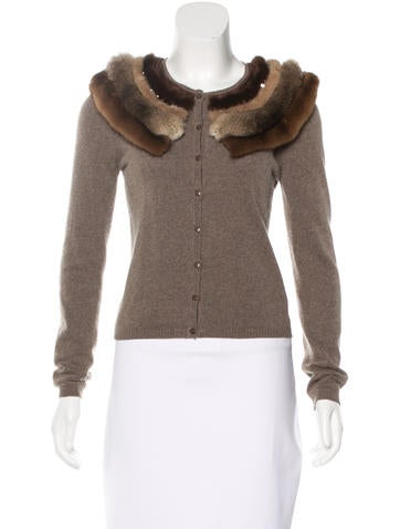 Blumarine Fur-Trimmed Rib Knit Cardigan None