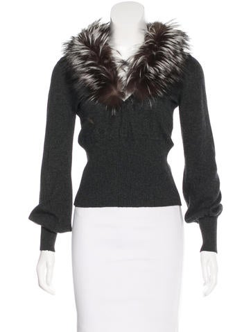 Blumarine Fur-Trimmed Long Sleeve Sweater None