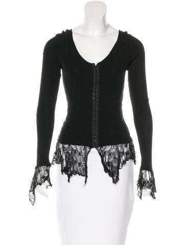 Blumarine Lace-Trimmed Long Sleeve Top None