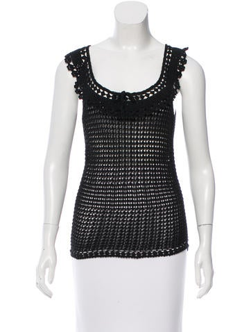 Blumarine Sleeveless Crochet Top None