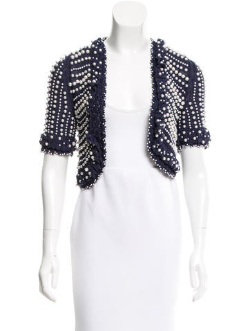 Blumarine Silk Embellished Cardigan None
