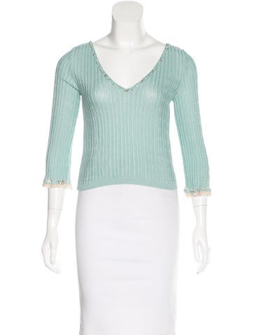 Blumarine Ruffled Cropped Sweater None