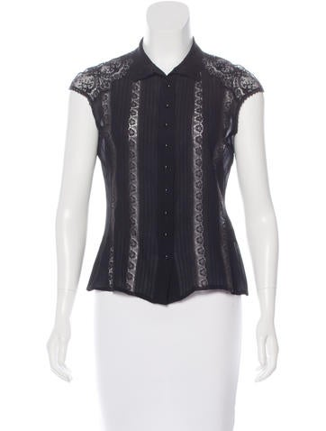 Blumarine Silk Button-Up Top None