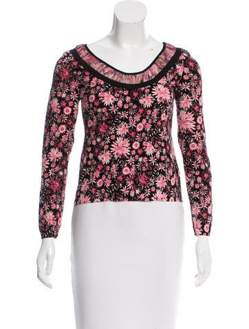 Blumarine Chiffon-Trimmed Floral Top None