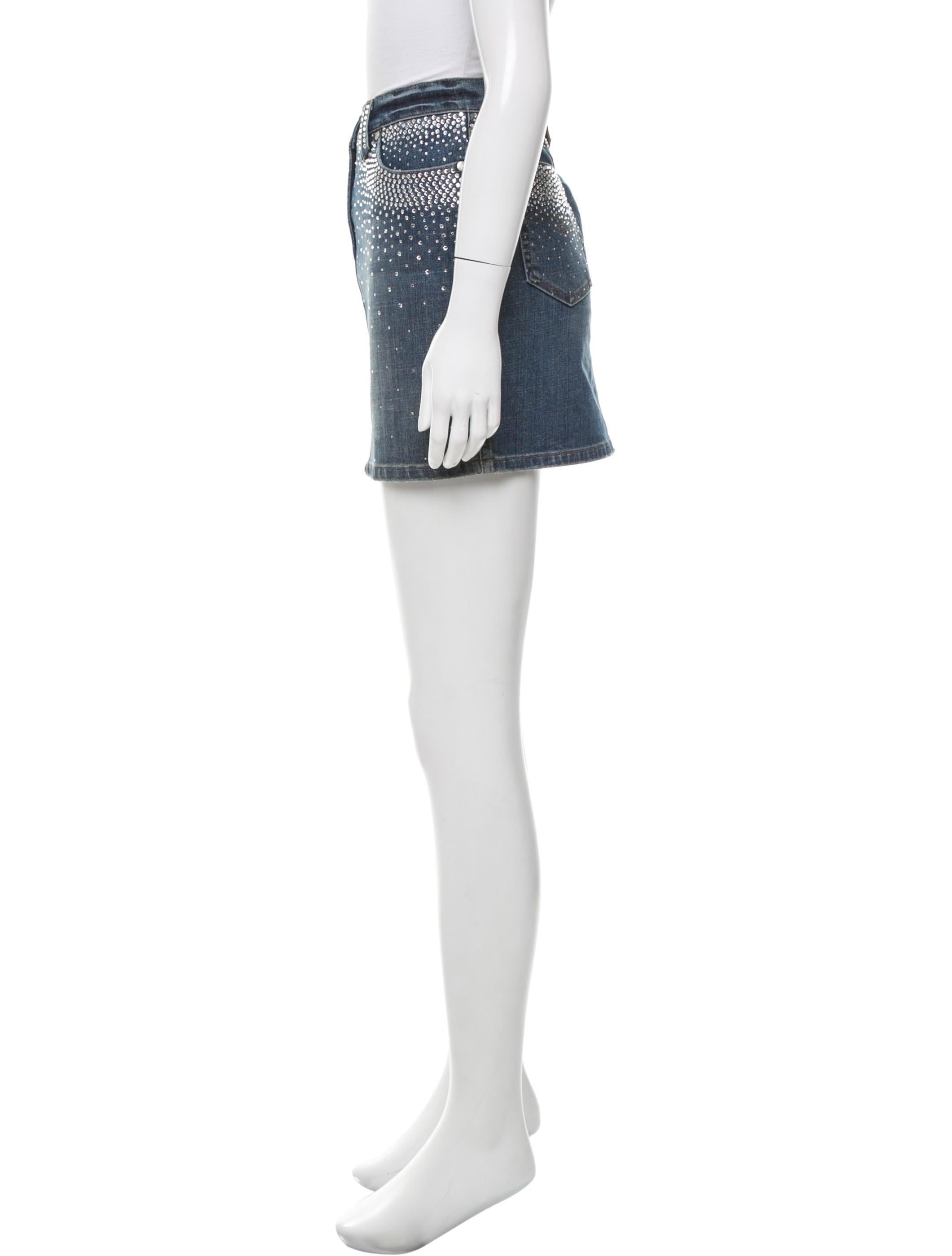 blumarine embellished denim skirt clothing blu26327