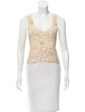 Blumarine Knit Crochet-Paneled Top None