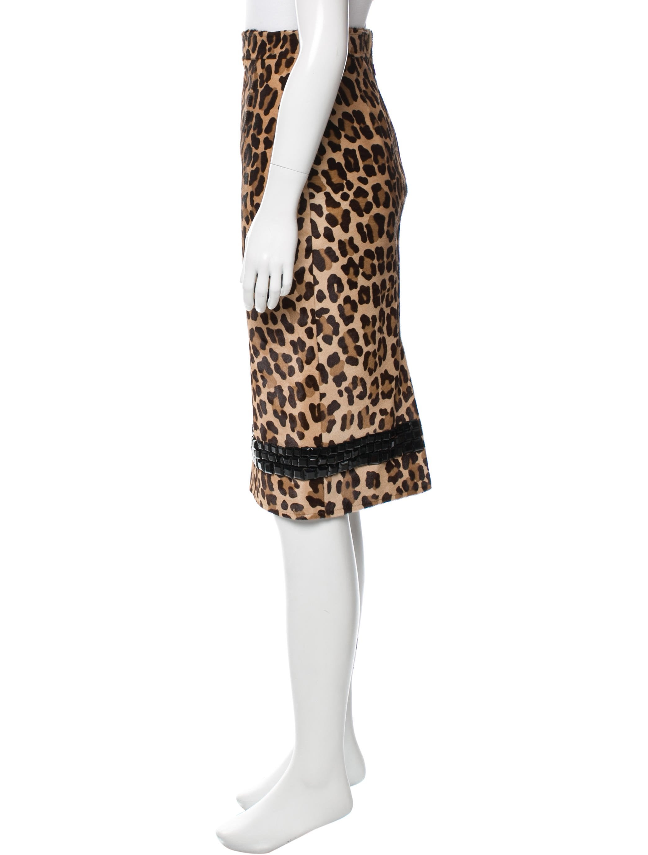 blumarine leopard print leather skirt w tags clothing