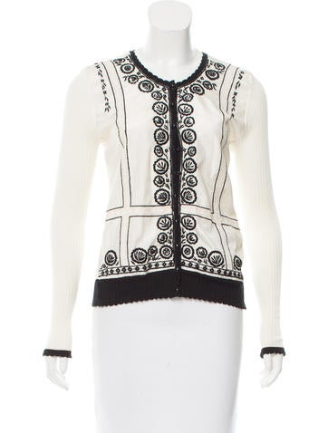 Blumarine Embroidered Silk-Accented Cardigan None
