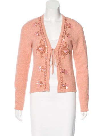 Blumarine Embellished Wool-Blend Cardigan None