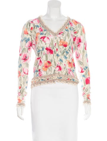 Blumarine Embellished & Printed Cardigan None