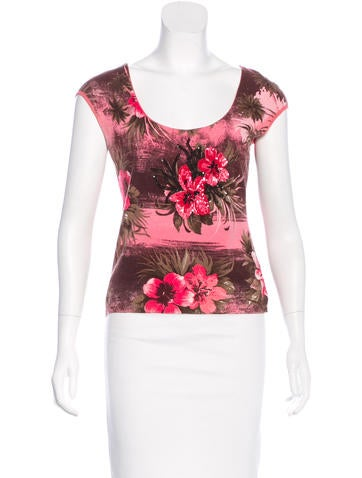Blumarine Embellished Printed Top None