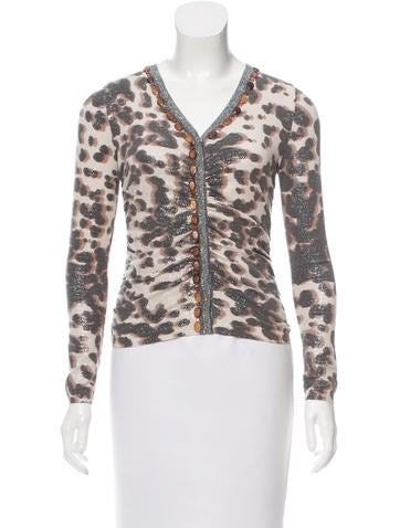 Blumarine Embellished Metallic Cardigan None