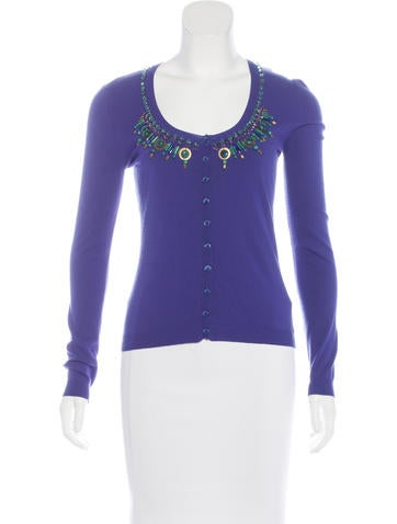 Blumarine Embellished Scoop Neck Cardigan None