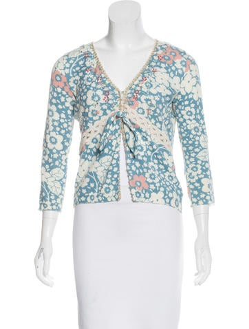 Blumarine Embellished Tie-Front Cardigan None