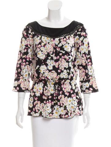 Blumarine Silk Floral Top None