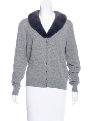 Blumarine Fur-Trimmed Cashmere Cardigan None