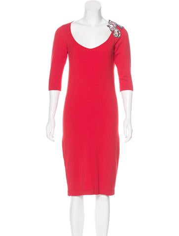 Blumarine Embellished Midi Dress None