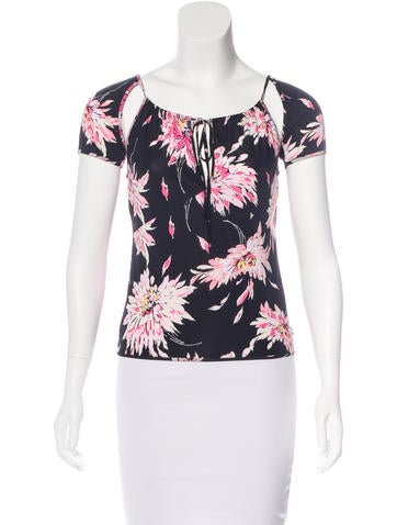 Blumarine Printed Cutout-Accented Top None