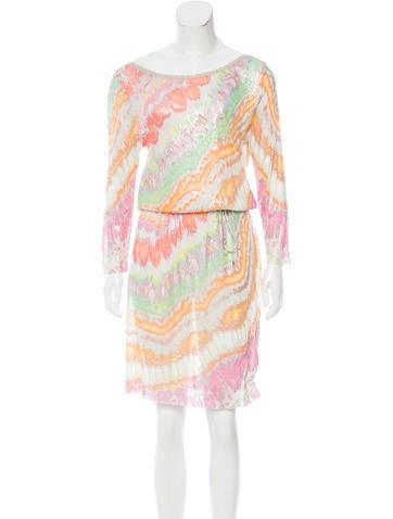 Blumarine Metallic Printed Dress w/ Tags None