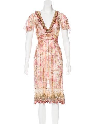 Blumarine Silk Embellished Dress None