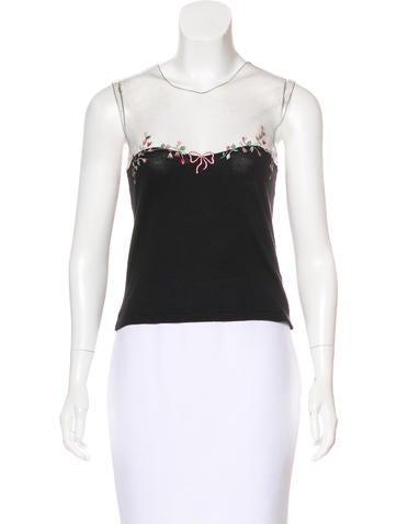 Blumarine Embroidered Sleeveless Top None