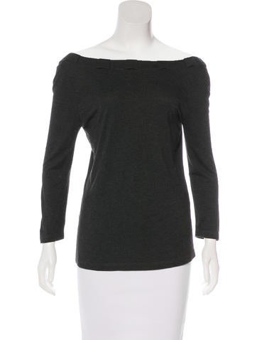 Blumarine Long Sleeve Off-The-Shoulder Top None
