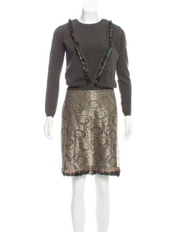 Blumarine Feather-Trimmed Wool Skirt Set None