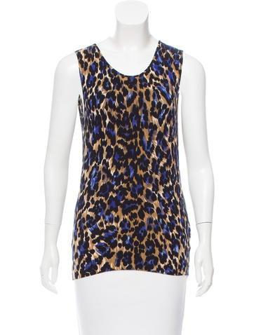 Blumarine Sleeveless Leopard Printed Top None