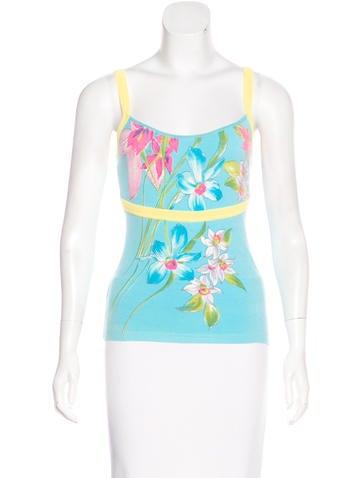 Blumarine Sleeveless Floral Print Top None