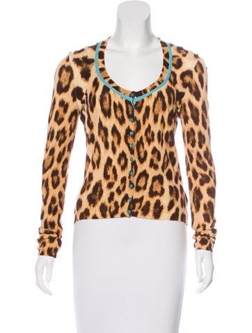 Blumarine Leopard Knit Cardigan None