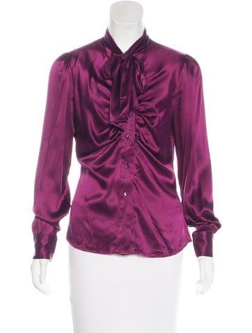 Blumarine Silk Long Sleeve Top None
