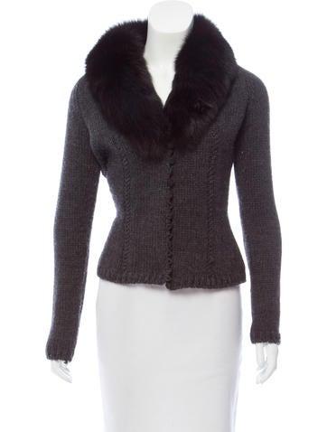 Blumarine Fur-Trimmed Knit Cardigan None