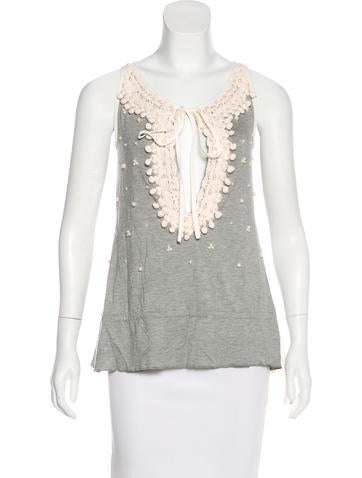 Blumarine Pearl-Accented Sleeveless Top None