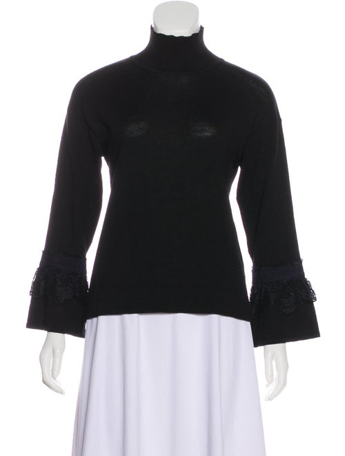 Blumarine Wool Lace-Accented Sweater Black