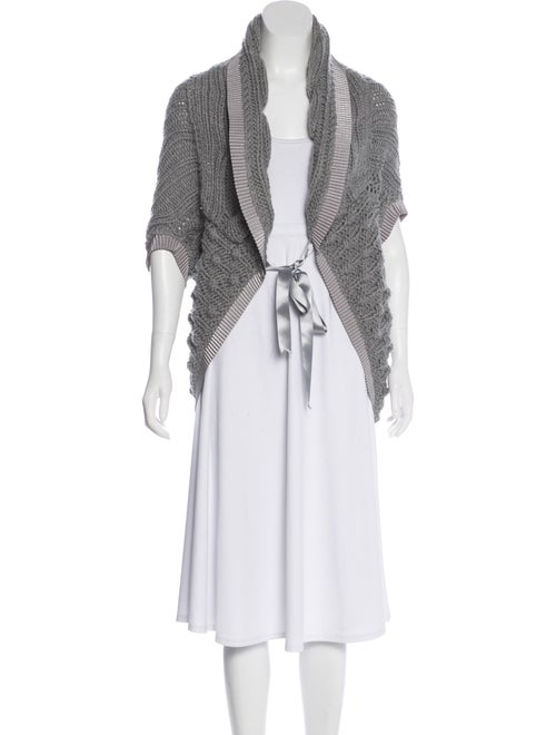 Blumarine Virgin Wool Short Sleeve Cardigan Grey
