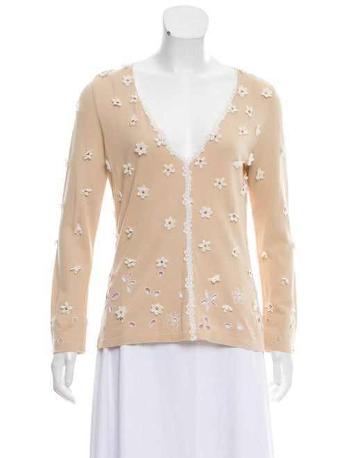 Blumarine Embroidered Embellished Sweater Beige