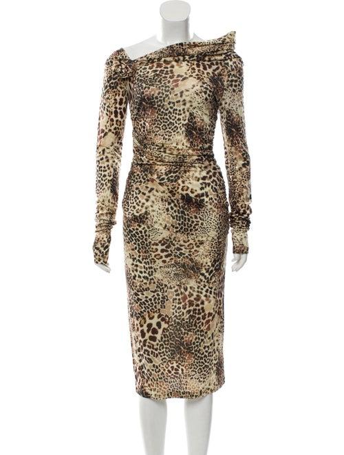 Blumarine Printed Maxi Dress Brown