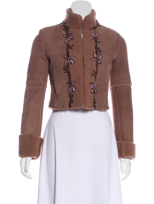 Blumarine Shearling Jacket Brown