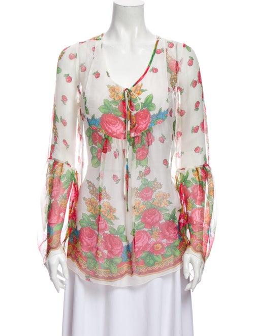 Blumarine Silk Floral Print Blouse White